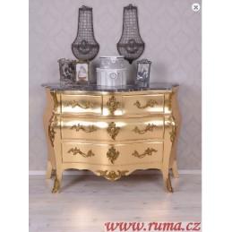 Stylová komoda ve zlaté barvě